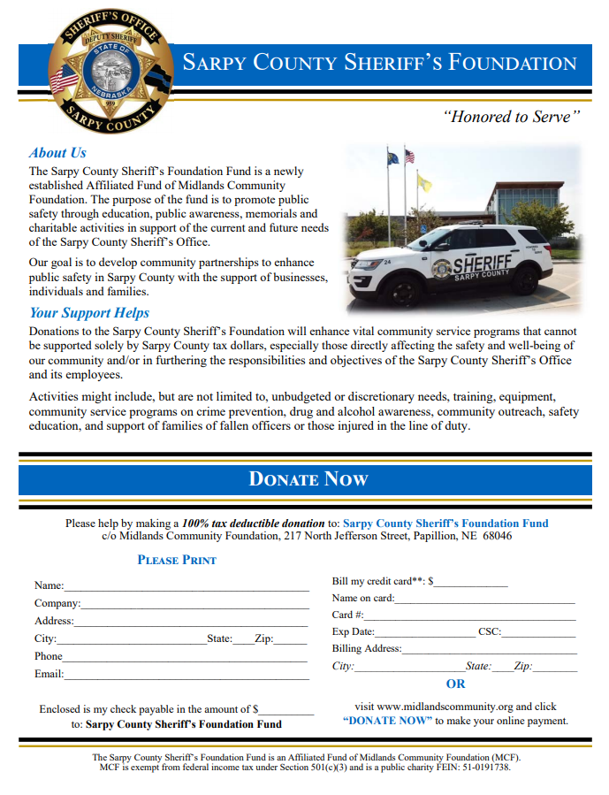 sarpy sheriff foundation