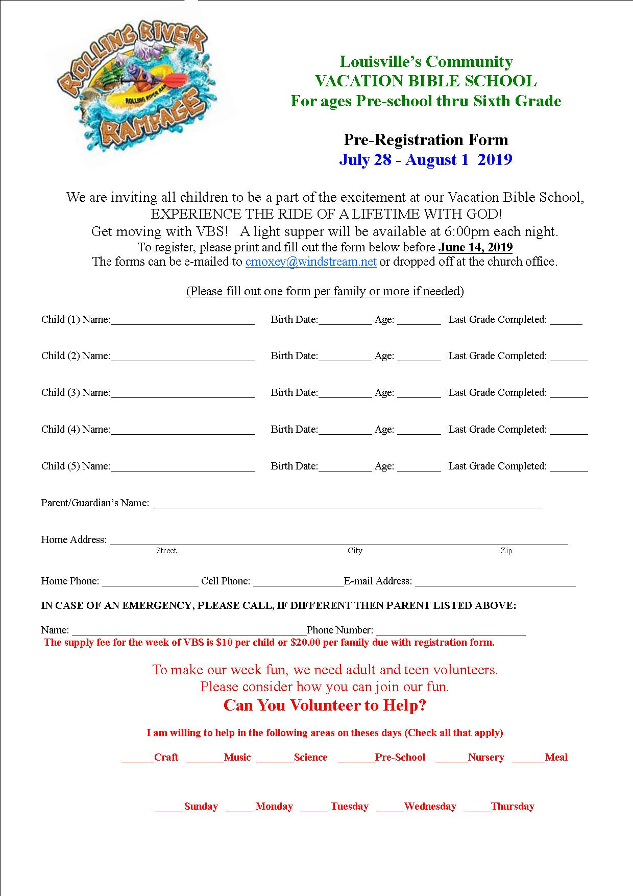 VBS Registration form 2019