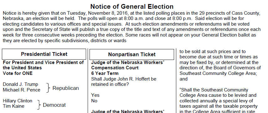 notice of general election